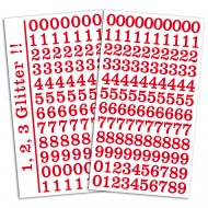 204 Stickers Chiffres Glitter Rouge