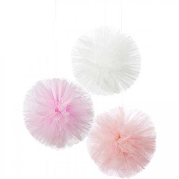 3 Décorations Pompons Tulle Love Pink (25 cm)