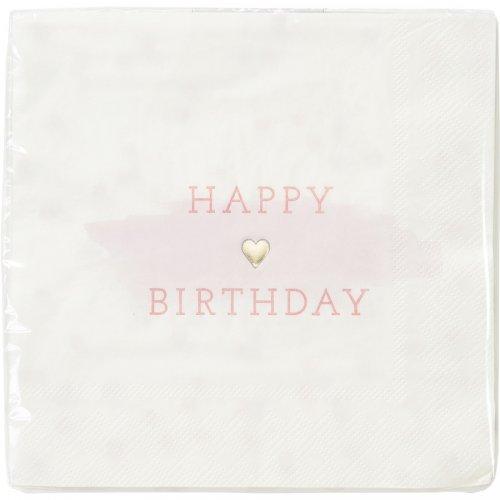 16 Serviettes Happy Birthday Love Pink