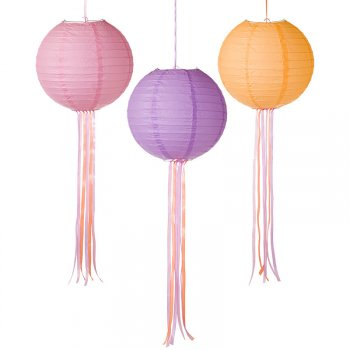 3 Lanternes Rose/Orange/Violet avec Rubans