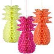3 Décorations Ananas 3D Fluo (30 cm)