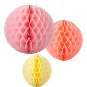 3 Boules Papier Sorbet Rose/Orange/Jaune