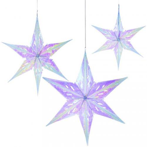 3 Etoiles Féériques 3D (36, 46 et 56 cm) - Plastique Iridescent