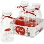 4 Petites Bouteilles de lait Père Noël - Plastique