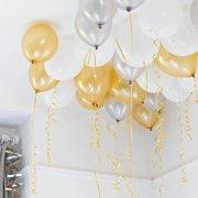 30 Ballons Or, Argent, Blanc lam�s et rubans