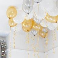 30 Ballons Or, Argent, Blanc lamés et rubans