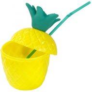 1 Verre Ananas avec Paille et Couvercle - Plastique