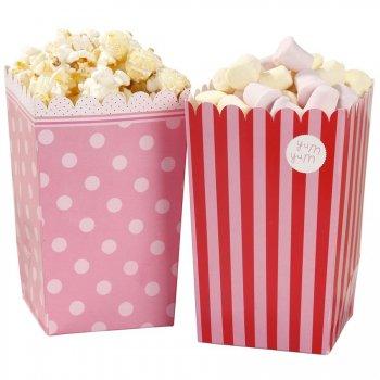 8 Boites Popcorn Fête Foraine Rose