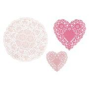 30 Napperons Papier Dentelles Coeurs Rose