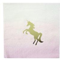 Contient : 1 x 16 Petites Serviettes Licorne Love Pink