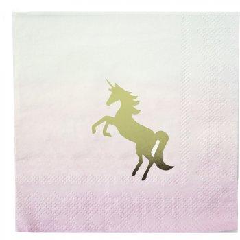 16 Petites Serviettes Licorne Love Pink