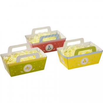 3 Paniers de Pâques avec Paille de soie 15 cm)  - Carton