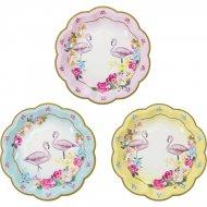 12 Petites Assiettes Flamant Rose Romance