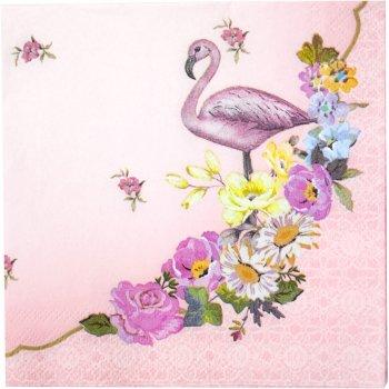 20 Petites Serviettes Flamant Rose Romance