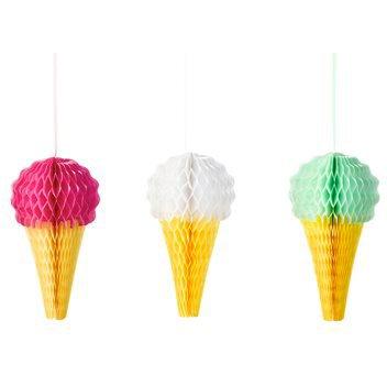 3 Décorations Ice Cream 3D - Nid d Abeille