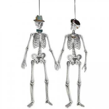 M et Mme Squelette Rétro à Suspendre (1,50 m) - Carton