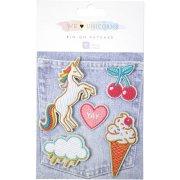 5 Badges Patchs Tissu Licorne
