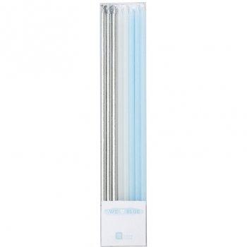 16 Longues Bougies Love Blue (17 cm)