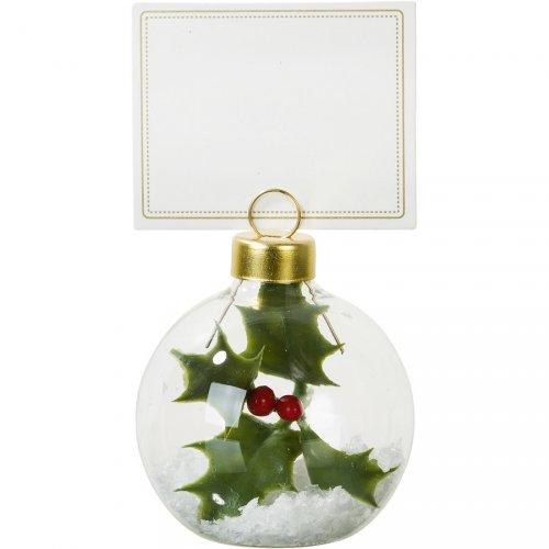 6 Marque-Places Boule de Noël Houx (5 cm)