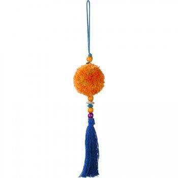 Déco Pompon Latina Orange/Bleu