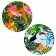 12 Assiettes Tropical Birds