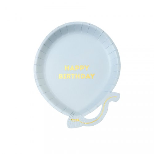 12 Assiettes Ballon Blue Birthday