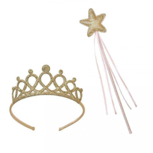 Couronne + Baguette Princesse Pinky Or