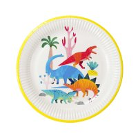 Contient : 1 x 8 Assiettes Dino Colors - Recyclable
