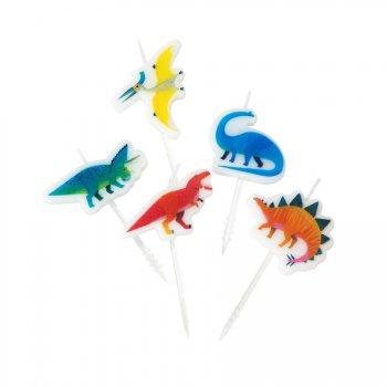 5 Mini Bougies Dino Colors (6 cm)