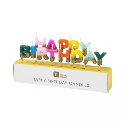 Mini Bougies Happy Birthday Arc en Ciel Glitter (6 cm)