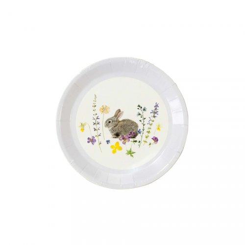 12 Mini Assiettes Lapin Flowers (13 cm)