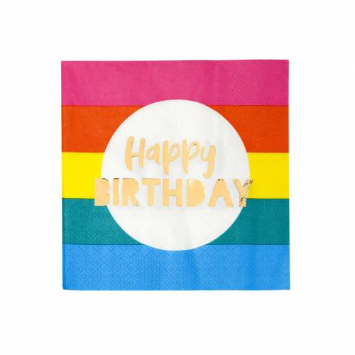 16 Serviettes Arc en Ciel - Happy Birthday
