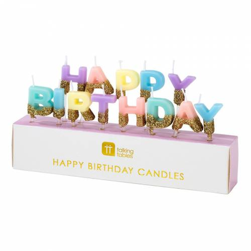 Mini Bougies Happy Birthday Pastel Glitter (6 cm)