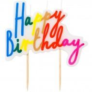 Bougie Happy Birthday Rainbow (10 cm)