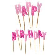Bougies Lettres Happy Birthday Rose Brillant � piquer