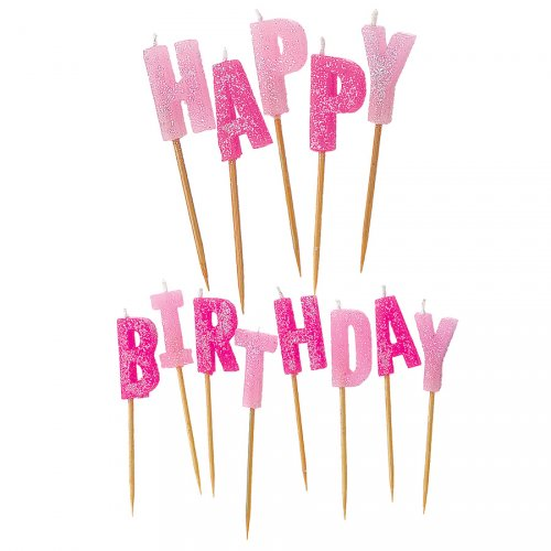 Bougies Lettres Happy Birthday Rose Brillant à piquer
