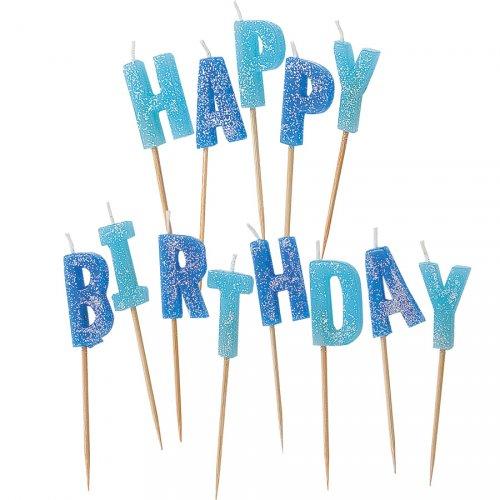 Bougies Lettres Happy Birthday Bleu Brillant à piquer