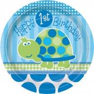 8 Assiettes First Birthday Tortue Bleu