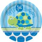 8 Petites Assiettes First Birthday Tortue Bleu