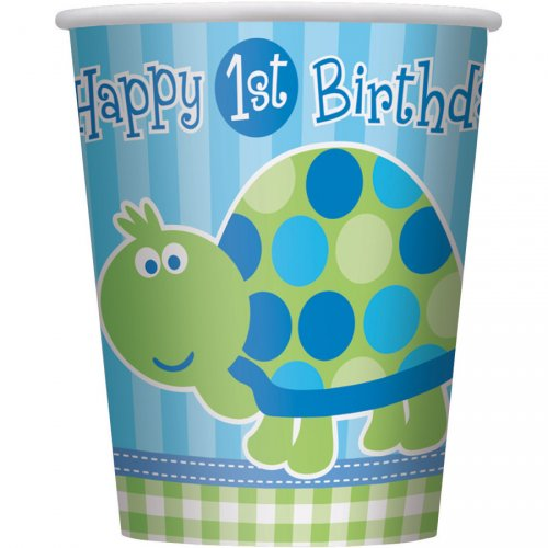 8 Gobelets First Birthday Tortue Bleu