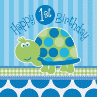Contient : 1 x 16 Serviettes First Birthday Tortue Bleu