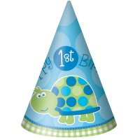Contient : 1 x 8 Chapeaux First Birthday Tortue Bleu