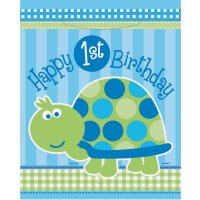 Contient : 1 x 8 Pochettes à Cadeaux First Birthday Tortue Bleu