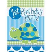 8 Invitations First Birthday Tortue Bleu