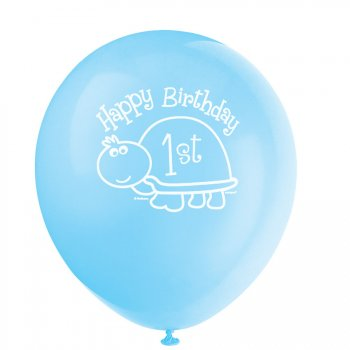 8 Ballons First Birthday Tortue Bleu