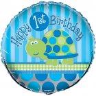 Ballon Mylar First Birthday Tortue Bleu