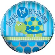 Ballon Mylar First Birthday Tortue Bleu