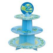 Pr�sentoir � Cupcakes First Birthday Tortue Bleu