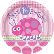 8 Assiettes First Birthday Coccinelle Rose
