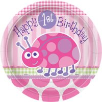 Contient : 1 x 8 Assiettes First Birthday Coccinelle Rose